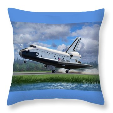 Shuttle Endeavour Touchdown Throw Pillow by Stu Shepherd