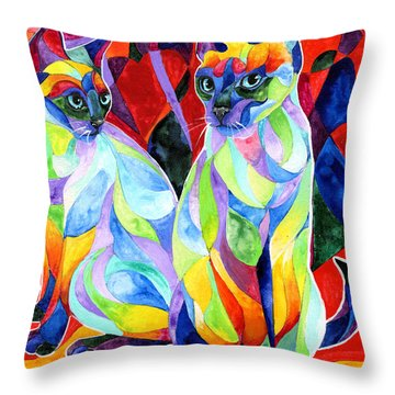 Siamese Sweethearts Throw Pillow by Sherry Shipley