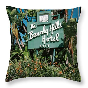 Signboard Of A Hotel, Beverly Hills Throw Pillow by Panoramic Images