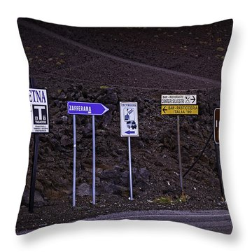 Signs Of A Crater - Sicily Throw Pillow by Madeline Ellis