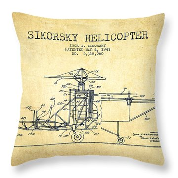 Sikorsky Helicopter Patent Drawing From 1943-vintage Throw Pillow by Aged Pixel