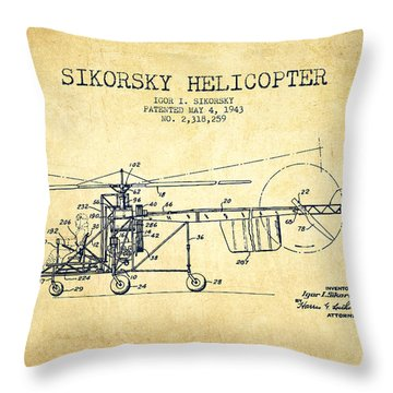 Sikorsky Helicopter Patent Drawing From 1943-vintgae Throw Pillow by Aged Pixel