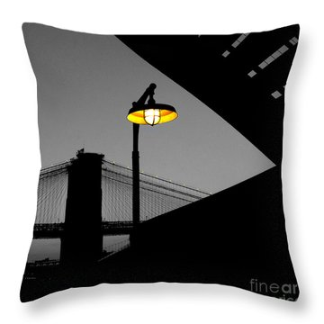 Silhouette Of Brooklyn Bridge New York City Throw Pillow by Sabine Jacobs