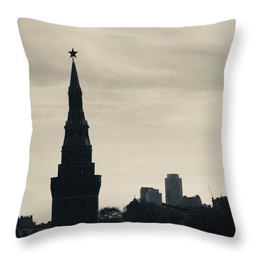Silhouette Of Kremlin Towers, Moscow Throw Pillow by Panoramic Images