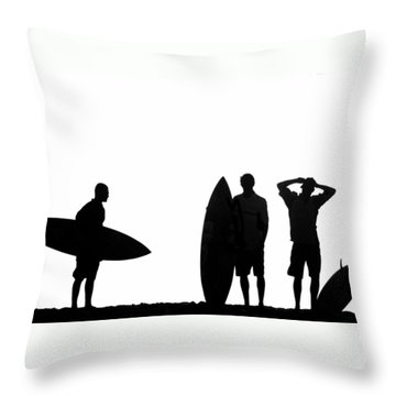 Silhouetted Surfers Throw Pillow by Sean Davey