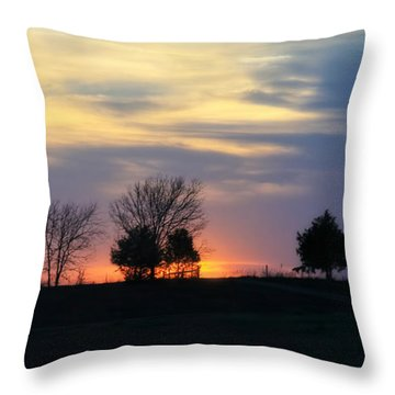 Silhouetts Of A Sunset Throw Pillow by Joan Bertucci