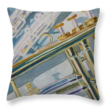 Silver And Brass Keys Throw Pillow by Jenny Armitage