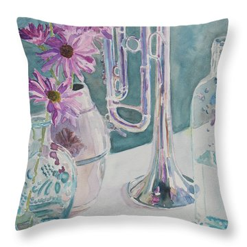 Silver And Glass Music Throw Pillow by Jenny Armitage