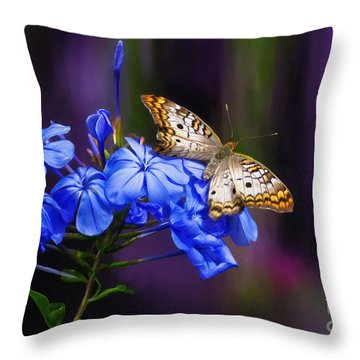 Silver And Gold Throw Pillow by Lois Bryan