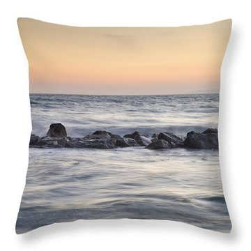 Silver Sea At Sunset Throw Pillow by Guido Montanes Castillo