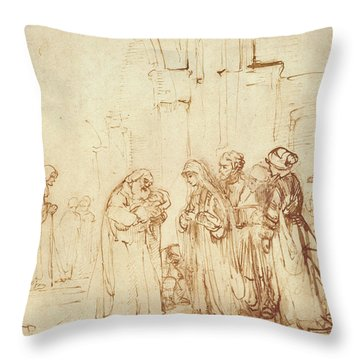 Simeon And Jesus In The Temple Throw Pillow by Rembrandt Harmenszoon van Rijn