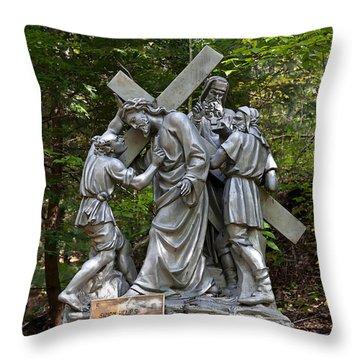 Simon Helps Jesus Throw Pillow by Terry Reynoldson