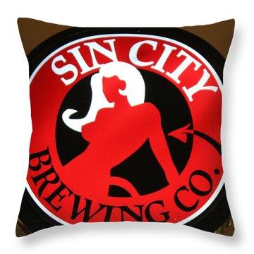 Sin City Brewing  Throw Pillow by Cynthia Guinn