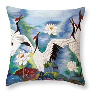 Singing In The Rain Hand Embroidery Throw Pillow by To-Tam Gerwe