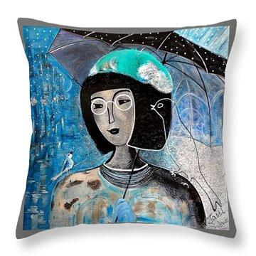 Singing Under The Rain Throw Pillow by Tatiana Tatti Lobanova