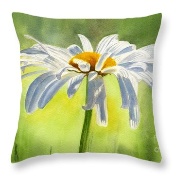 Single White Daisy Blossom Throw Pillow by Sharon Freeman