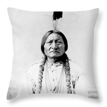 Sioux Chief Sitting Bull Throw Pillow by War Is Hell Store