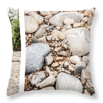 Sit Down... Stones White Throw Pillow by Hannes Cmarits