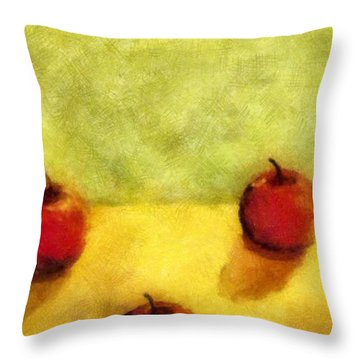 Six Apples Throw Pillow by Michelle Calkins