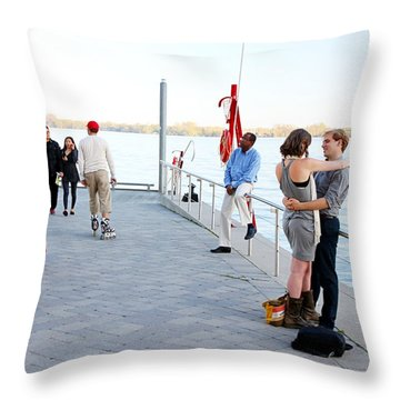 Skater And Couples Throw Pillow by Valentino Visentini