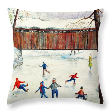 Skating At The Bridge Throw Pillow by Philip Lee