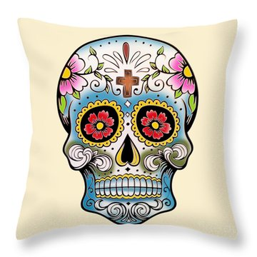 Skull 10 Throw Pillow by Mark Ashkenazi