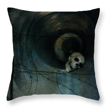 Skull In Drainpipe Throw Pillow by Jill Battaglia
