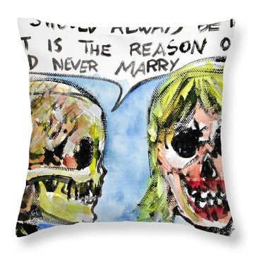 Skull Quoting Oscar Wilde.5 Throw Pillow by Fabrizio Cassetta