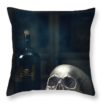 Skull With Poison Bottle Throw Pillow by Amanda Elwell