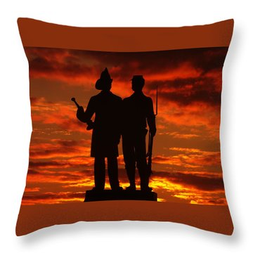 Sky Fire - 73rd Ny Infantry Fourth Excelsior Second Fire Zouaves-a1 Sunrise Autumn Gettysburg Throw Pillow by Michael Mazaika
