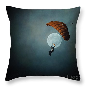 Skydiver's Moon Throw Pillow by Trish Mistric