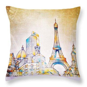 Skyline Of The World Throw Pillow by Natasha Marco