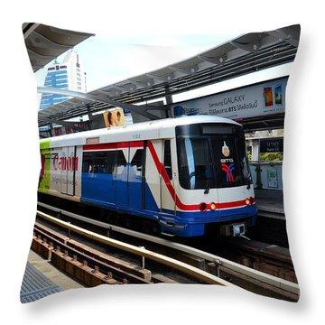 Skytrain Carriage Metro Railway At Nana Station Bangkok Thailand Throw Pillow by Imran Ahmed
