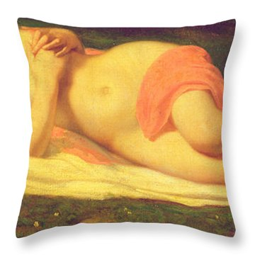 Sleeping Nymph Throw Pillow by Jean Baptiste Ange Tissier