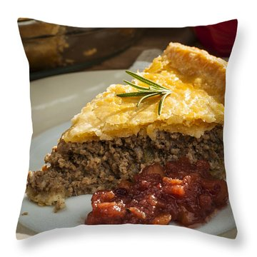 Slice Of Tourtiere Meat Pie  Throw Pillow by Elena Elisseeva