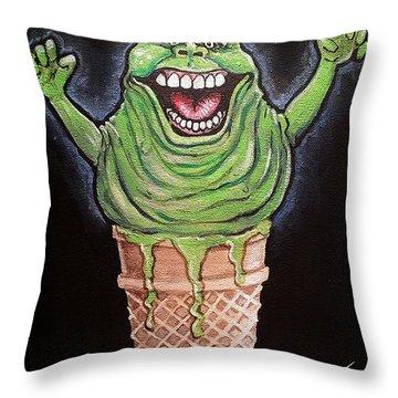 Slimer Cone Throw Pillow by Tom Carlton