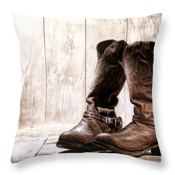 Slouch Cowboy Boots Throw Pillow by Olivier Le Queinec