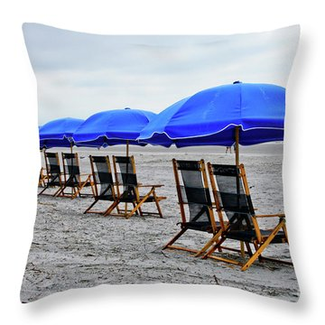 Slow Day At The  Beach Throw Pillow by Thomas Marchessault