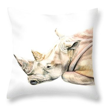 Small Colour Rhino Throw Pillow by Elizabeth Lock