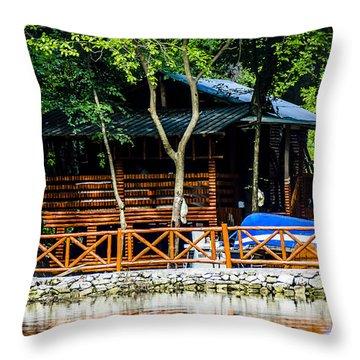 Small Wooden House Throw Pillow by Sotiris Filippou