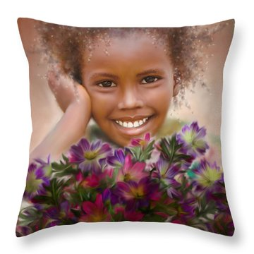 Smile 2 Throw Pillow by Kume Bryant