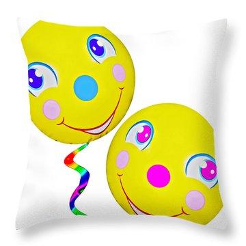 Smiley Face Balloons Throw Pillow by Susan Leggett