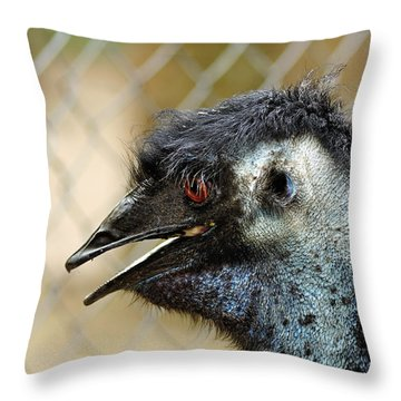 Smiley Face Emu Throw Pillow by Kaye Menner
