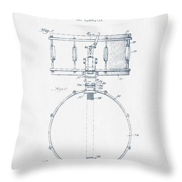 Snare Drum Patent Drawing From 1939 - Blue Ink Throw Pillow by Aged Pixel