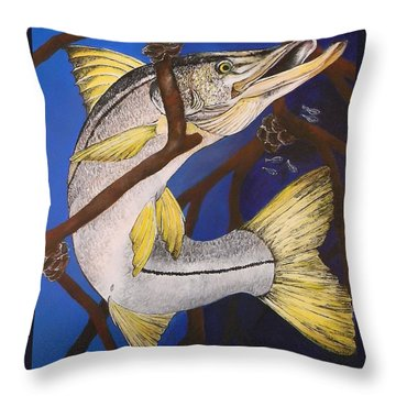 Snook Painting Throw Pillow by Lisa Bentley