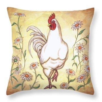 Snooty The Rooster Two Throw Pillow by Linda Mears