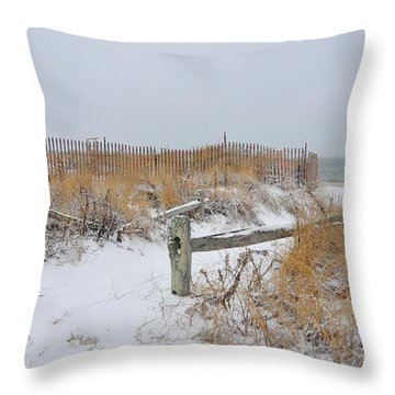 Snow And Sand Throw Pillow by Catherine Reusch  Daley