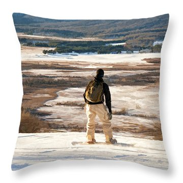 Snow Boarder Planning His Run Throw Pillow by Dan Friend