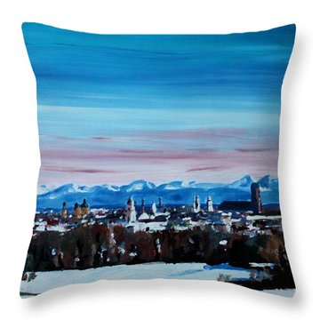 Snow Covered Munich Winter Panorama With Alps Throw Pillow by M Bleichner