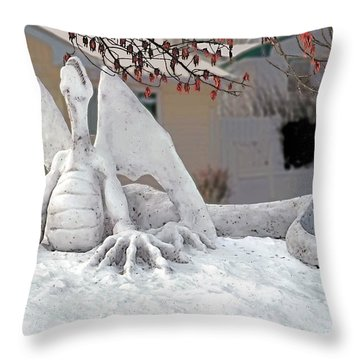 Snow Dragon 3 Throw Pillow by Terry Reynoldson
